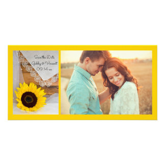 Sunflower and Lace Country Wedding Save the Date Customised Photo Card