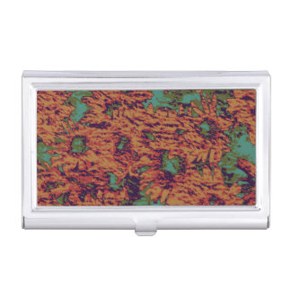 Sunflower and leaf camouflage pattern on business card holder