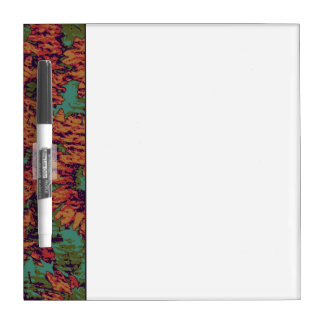 Sunflower and leaf camouflage pattern on dry erase board