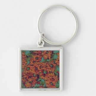 Sunflower and leaf camouflage pattern on key ring