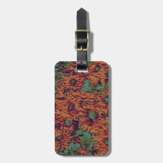 Sunflower and leaf camouflage pattern on luggage tag