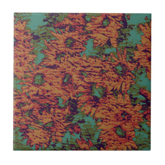 Sunflower and leaf camouflage pattern on tile
