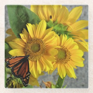 Sunflower and Monarch Butterfly Glass Coaster