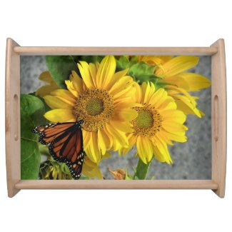 Sunflower and Monarch Butterfly Serving Tray