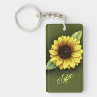 Sunflower and Monogram Single-Sided Rectangular Acrylic Key Ring