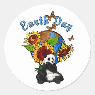 Sunflower and Panda Earth Classic Round Sticker