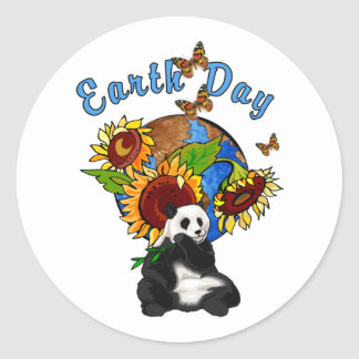 Sunflower and Panda Earth Round Sticker