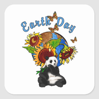 Sunflower and Panda Earth Square Sticker