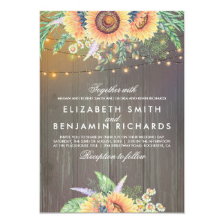 Sunflower and String Lights Rustic Wood Wedding Card