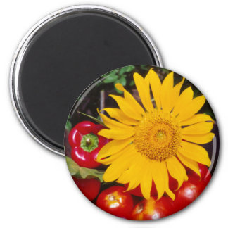 Sunflower and Vegetables - Tomatoes, Red Peppers Fridge Magnets