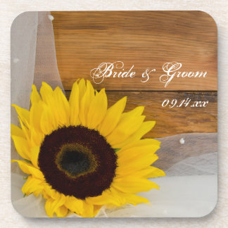 Sunflower and Veil Country Wedding Beverage Coasters