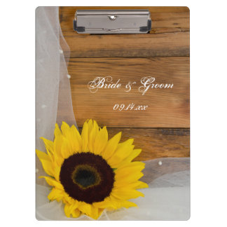 Sunflower and Veil Country Wedding Clipboard
