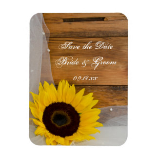Sunflower and Veil Country Wedding Save the Date Rectangle Magnets