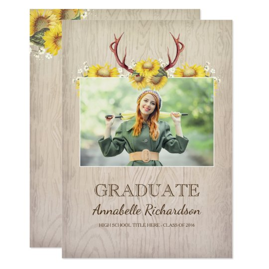 Sunflower Antlers Rustic Photo Graduation Card