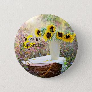 Sunflower Arrangement Sunshine & Happiness 6 Cm Round Badge