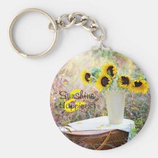 Sunflower Arrangement Sunshine & Happiness Basic Round Button Key Ring