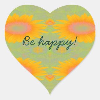 Sunflower Art on Green - Be Happy! Sticker