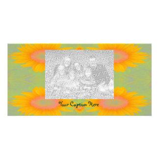 Sunflower Art on Green Photo Card Template
