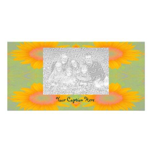 Sunflower Art on Green Photo Cards