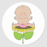 Sunflower Baby Girl Round Stickers
