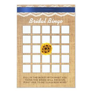 Sunflower Ball Lace & Burlap Bridal Shower Bingo 9 Cm X 13 Cm Invitation Card