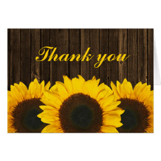 Sunflower Barn Wood Thank You Card