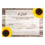 Sunflower Barn Wood Wedding RSVP Response Card Personalized Invitation
