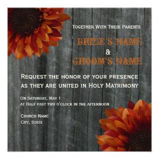 Sunflower Barnwood Fall Wedding Invitation
