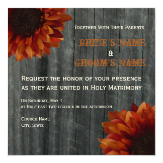 Sunflower & Barnwood Fall Wedding Invitation