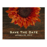Sunflower & Barnwood Save The Date Postcard
