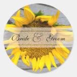 Sunflower Barnwood wedding Round Stickers