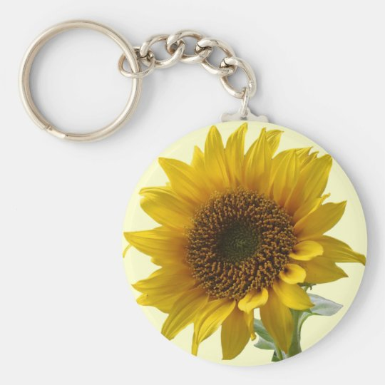 Sunflower Basic Round Button Key Ring