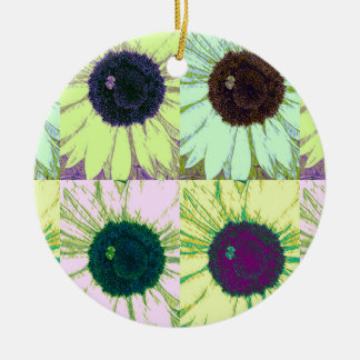 Sunflower Bee Pop Christmas Ornament
