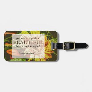 Sunflower & Bible Verse Design Bag Tag