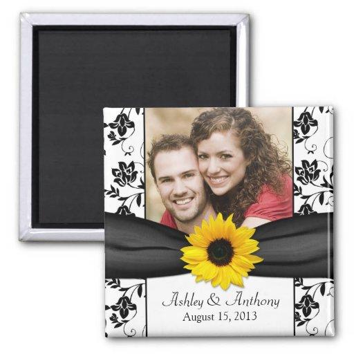 Sunflower Black and White Damask Wedding Magnet Refrigerator Magnets
