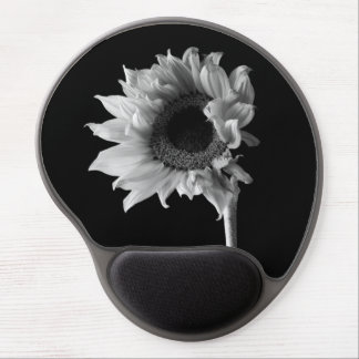 Sunflower - Black and White Photograph Gel Mouse Pad