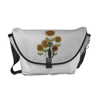 Sunflower Black Cat Messenger Bags