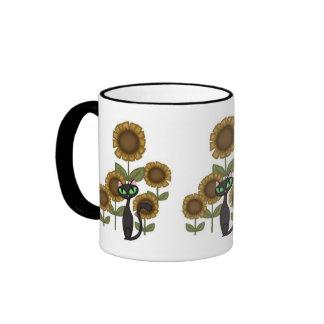 Sunflower Black Cat Mugs