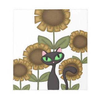 Sunflower Black Cat Notepad