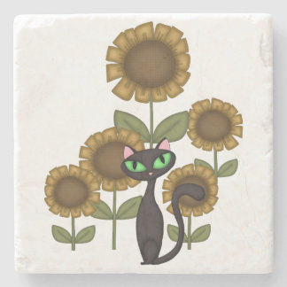Sunflower Black Cat Stone Coaster