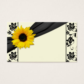 Sunflower Black Cream Floral Wedding Place Cards