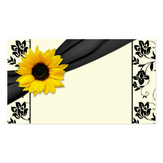 Sunflower Black Cream Floral Wedding Place Cards Pack Of Standard Business Cards