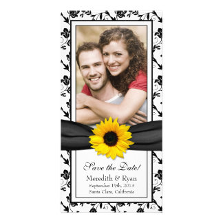 Sunflower Black Floral Ribbon Wedding Save Date Card