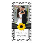 Sunflower Black Floral Ribbon Wedding Thank You Personalised Photo Card