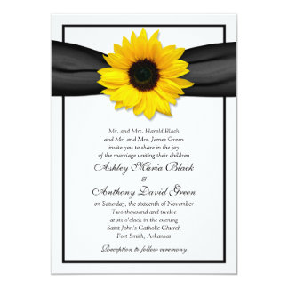 Sunflower Black Ribbon Wedding Invitation