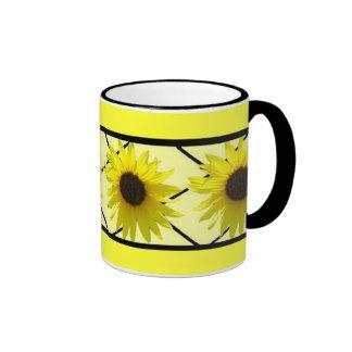 Sunflower Black Triming Ringer Mug