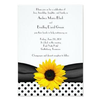 Sunflower Black White Polka Dot Ribbon Wedding 13 Cm X 18 Cm Invitation Card