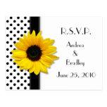 Sunflower Black White Polka Dot RSVP Postcard