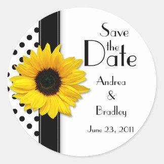 Sunflower Black White Polka Dot Save the Date Round Sticker