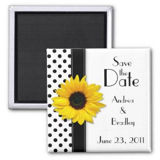 Sunflower Black White Polka Dot Save the Date Square Magnet